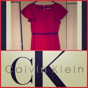 Calvin Klein Short Ruffle Sleeve Sheath/Dress ❤️